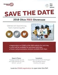 SAVE THE DATE 2018 Ohio PBIS Showcase